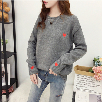 Ailegogo Autumn Winter Knitted Heart Printed Women Pullovers Sweater Casual Woolen Warm O-neck Long Sleeve Female Sweater 2