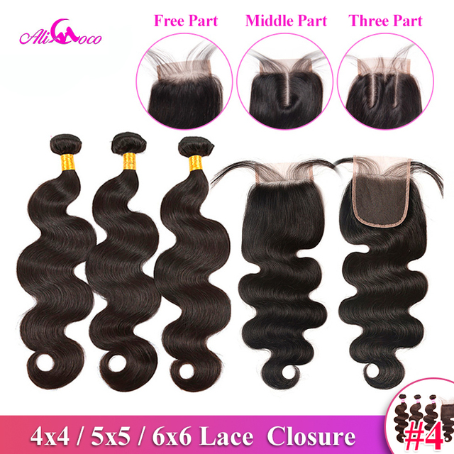 $ US $51.57 Ali Coco Brazilian Body Wave Bundles With Closure Natural color/ #2/#4 100% Human Hair Weave Bundles With Closure Non-Remy Hair