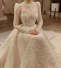Vintage Vestidos De Novias Cổ Cao Cổ Tròn Bling Bling Lấp Lánh Vải Dài Tay Bầu Hồi Giáo Váy Áo