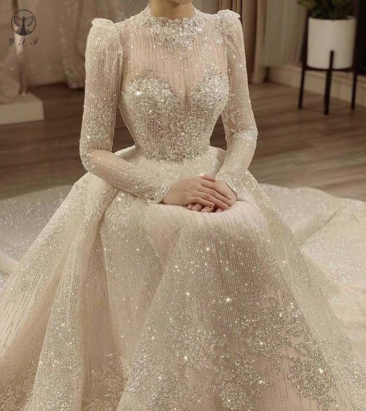 Vintage Vestidos De Novias High Collar O Neck Bling Bling Glitter Fabric Long Sleeve Ball Gown Muslim Wedding Dresses