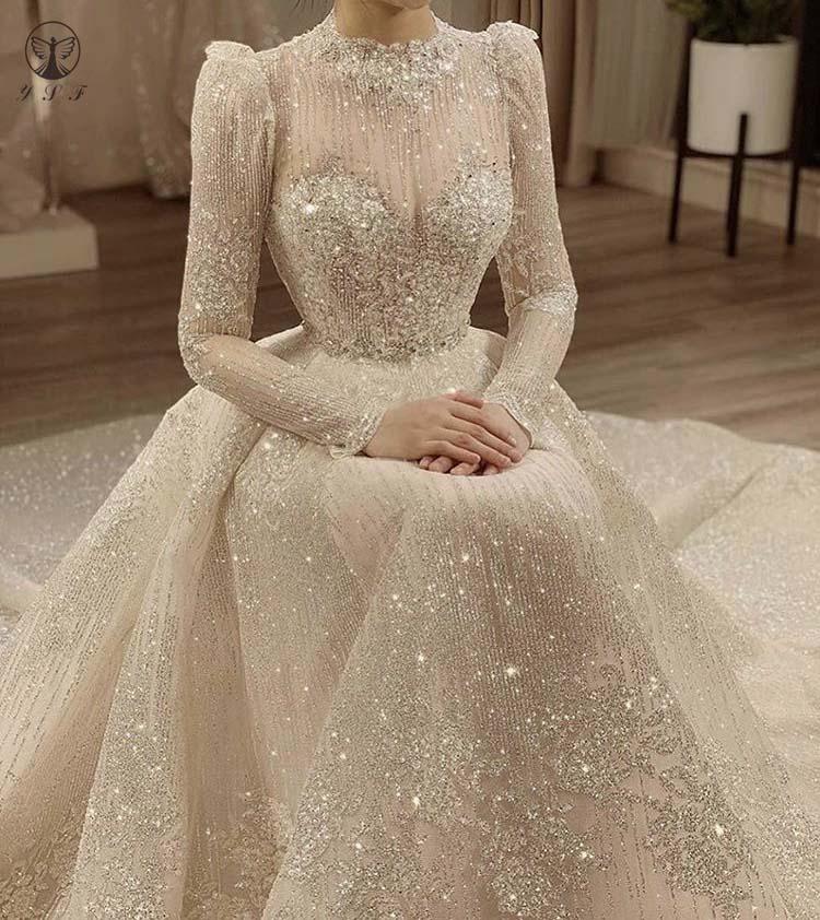 Vintage Vestidos De Novias High Collar O Neck Bling Bling Glitter Fabric Long Sleeve Ball Gown Muslim Wedding Dresses