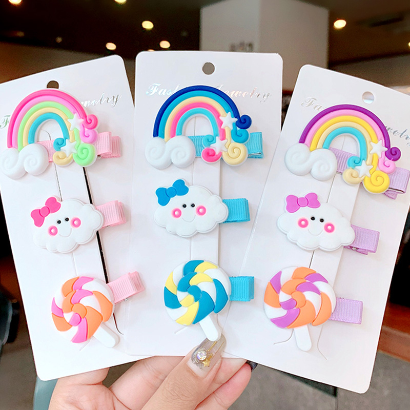2/3pcs/set Cute Cartoon Rainbow Cloud Lollipop Hairpins For Girls Headband Sweet Hair Clips Barrettes Fashion Hair Accessories