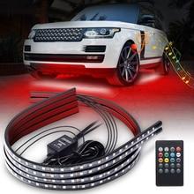 Niscarda 자동차 Underglow 빛 유연한 스트립 LED Underbody 조명 원격 제어 네온 불빛 RGB 장식 분위기 램프
