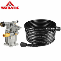 YAMATIC 3200 PSI 25 FT Pressure Washer Hose With 2900 PSI 2.3 GPM 3/4 Horizontal Shaft Pressure Washer Pump Set