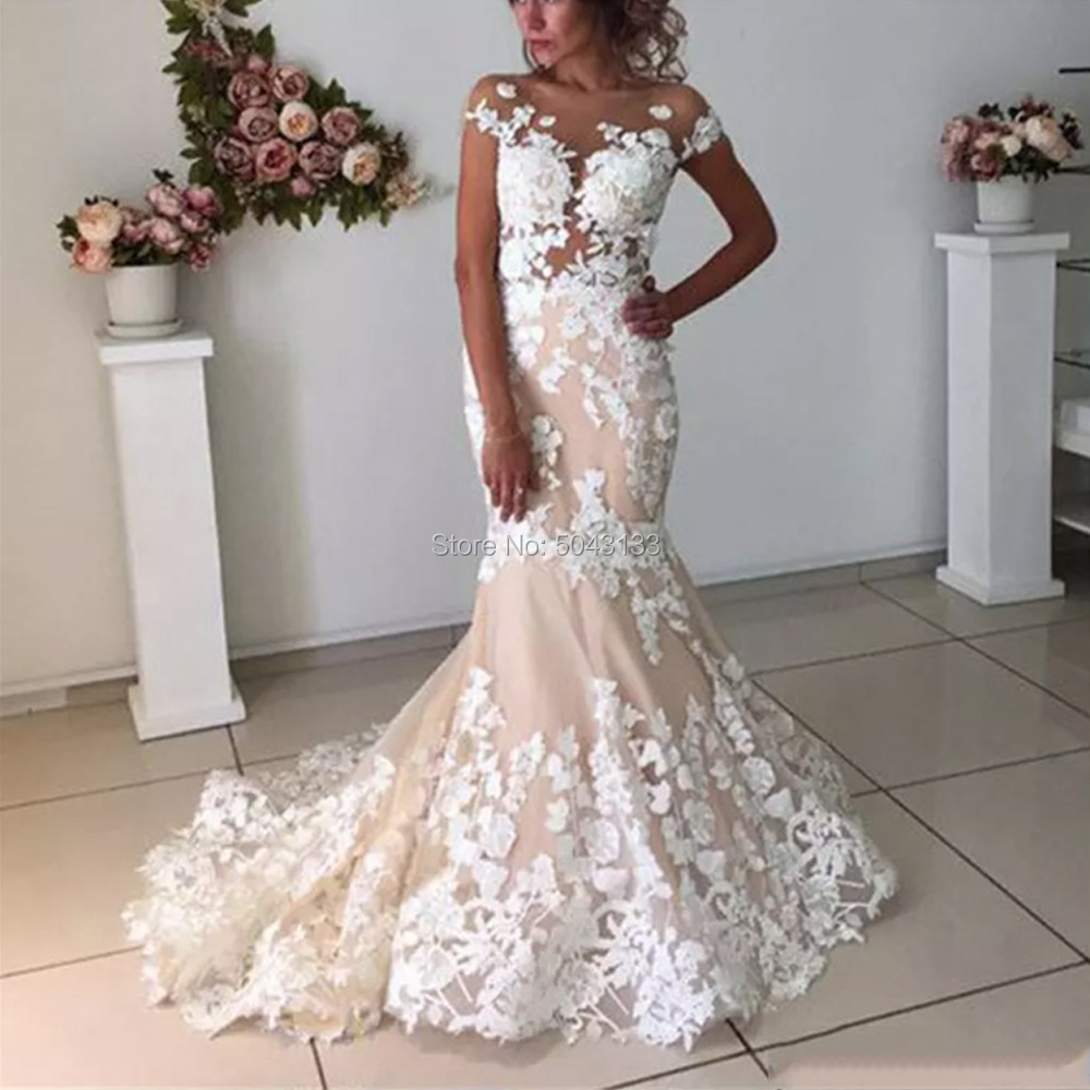 Champagne Mermaid Wedding Dresses 2020 Open Back Robe De Mariee Lace Floral Applique Nude Tulle Neck Short Sleeves Bridal Gowns