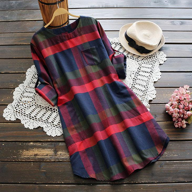 2020 New Plus Size Plaid Dress Women O-neck  Long Sleeve Loose Pullovers Streetwear Mini Dress Casual Womens 7
