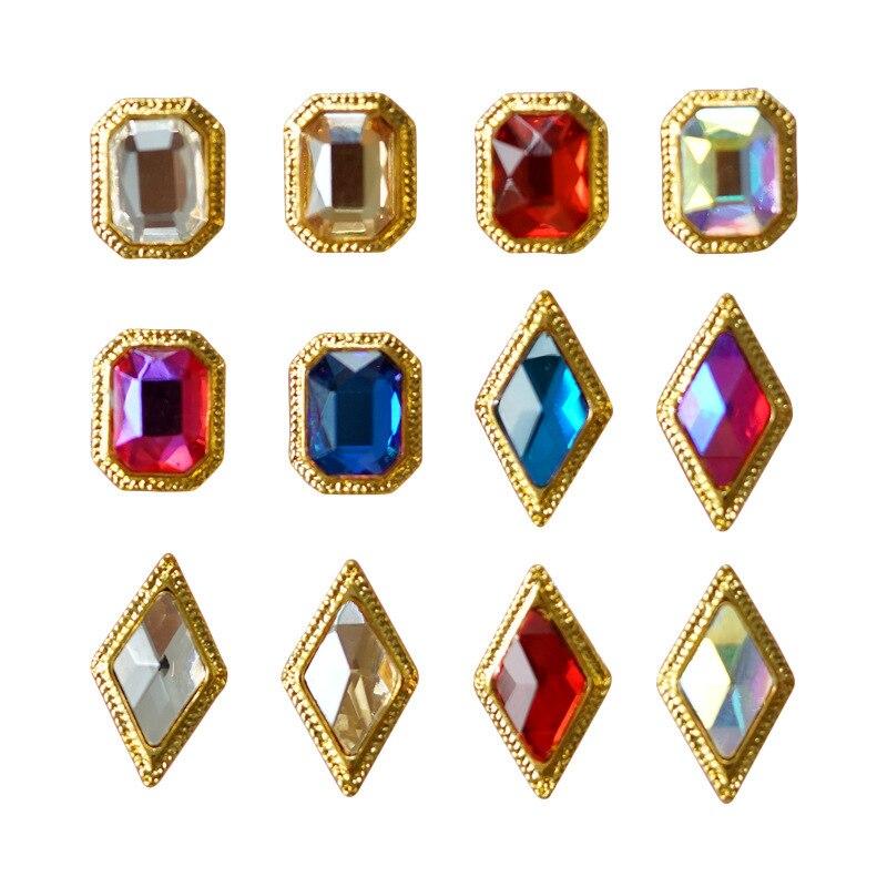 10 шт., 3D сплав, стразы для дизайна ногтей, квадратные Ромбы, хрустальные бриллианты, камень, очаровательные ювелирные изделия, 2020, новые аксес...