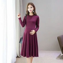 Maternity Long Dresses 2019 Autumn Winter Cotton For Pregnancy Women Sleeve Pregnant Skirt Clothing C0104