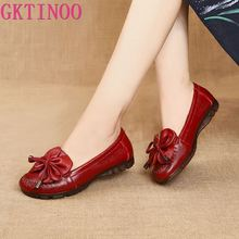 GKTINOO Spring Autumn Genuine Leather Slip On Flat Shoes Women Loafers Soft Bottom Shallow Butterfly knot Mother Casual Shoes