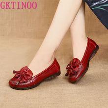 GKTINOO الربيع الخريف جلد طبيعي الانزلاق على حذاء مسطح النساء المتسكعون لينة أسفل الضحلة فراشة عقدة الأم حذاء كاجوال