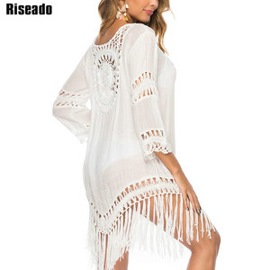 Image 2 - Riseadoタッセルロングビーチドレスセクシーなカバーアップチュニックビーチウェア長袖水着女性ホワイト中空水着 2020