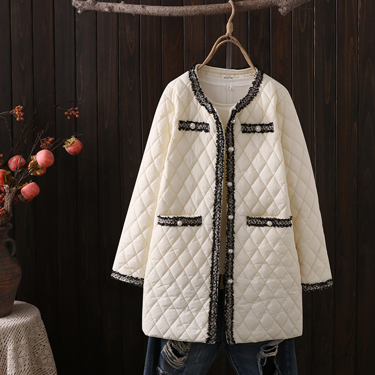 2021 Women's Elegant Winter Padded Oversize Jacket Big Size New Loose Geometric Quilted Polyfill Long Coat Off White 2XL 3XL 4XL