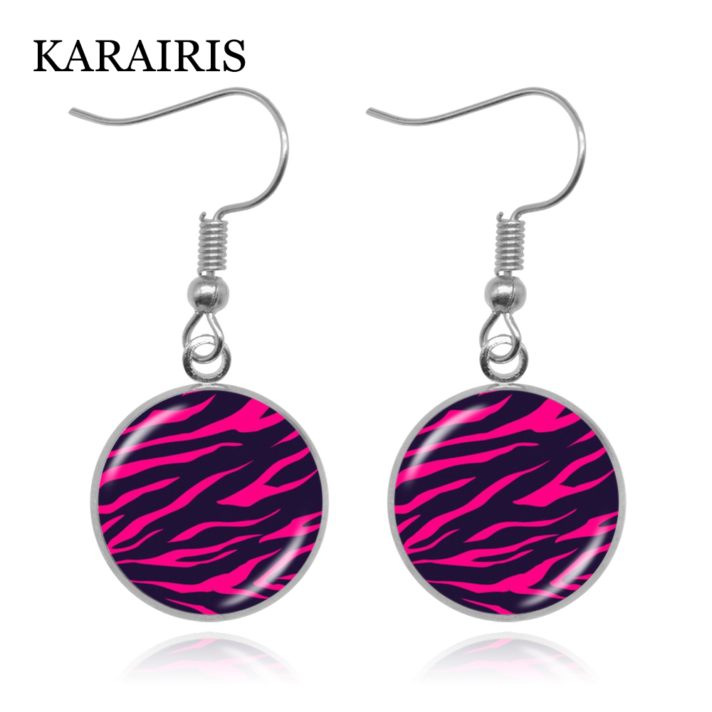 Charms Colorful Zebra Stripe Necklaces Pattern Print Glass Cabochon Pendants Necklace Jewelry Gifts Hand Craft Jewelry