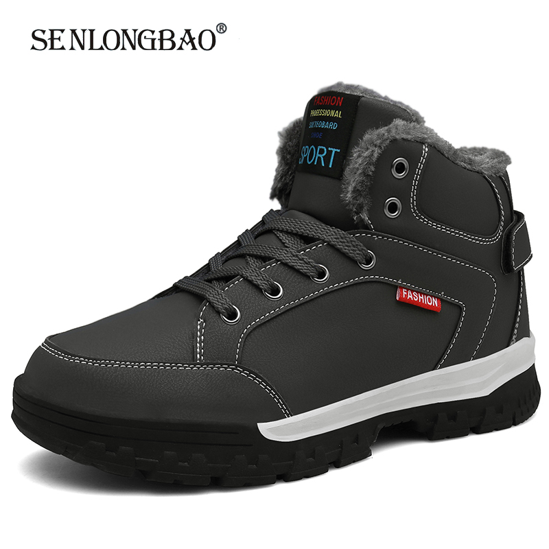 New Winter Men Lace-Up Snow Boots Fashion Warm Plush High Top Men Boots Outdoor Sports Boots Waterproof Ankle Boots Size 39-46