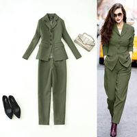 Set women's autumn and winter new style army green temperament slim slimming long suit + harem pants trousers set two sets