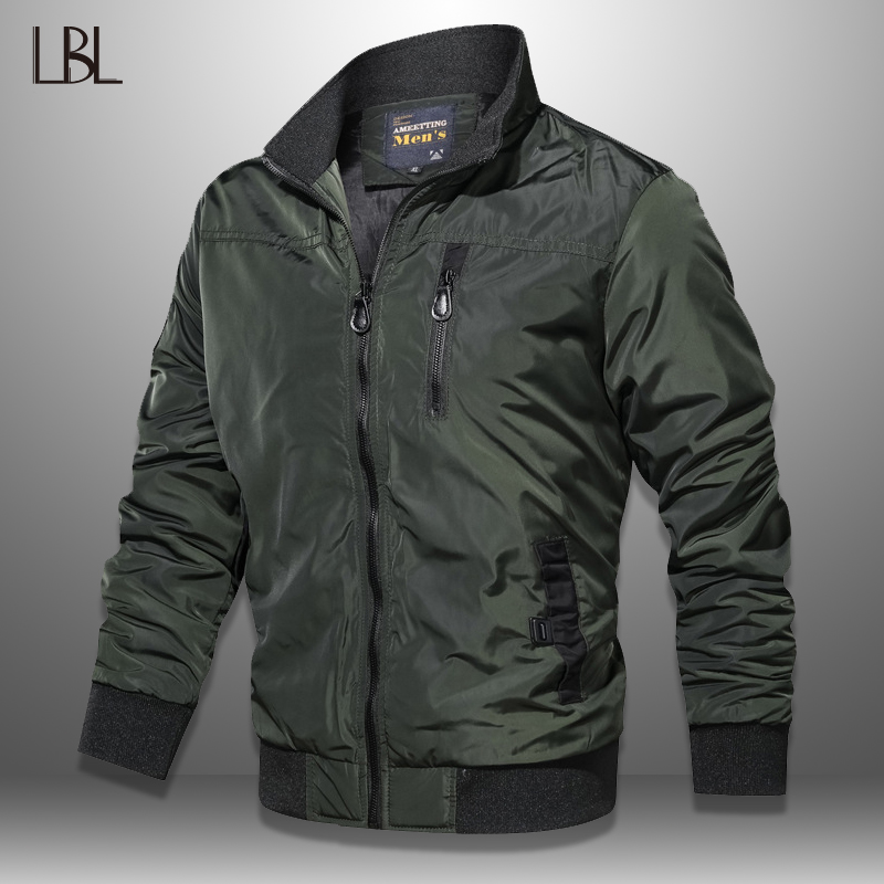 LBL Autumn Military Bomber Jacket Men Slim Fit 2019 Winter Casual Mens Jacket Solid Outwear Zipper Coat Man Tracksuit Windproof