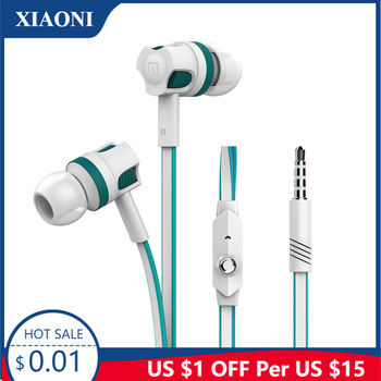 3.5mm Earphones Noodles Headsets Sport Earbuds with Microphone Headphones for Meizu Samsung Galaxy A50 for Xiaomi Redmi 8a Honor image