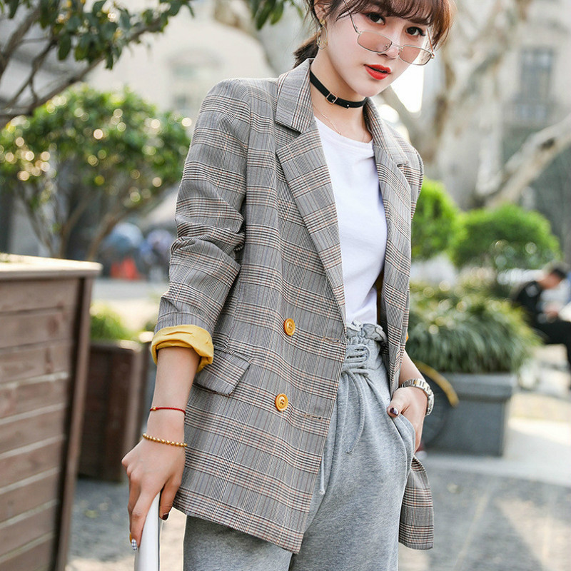Temperament Women's Blazer 2020 Korean Version Of The New High-quality Plaid Ladies Jacket Coat Female Fashion Small Suit