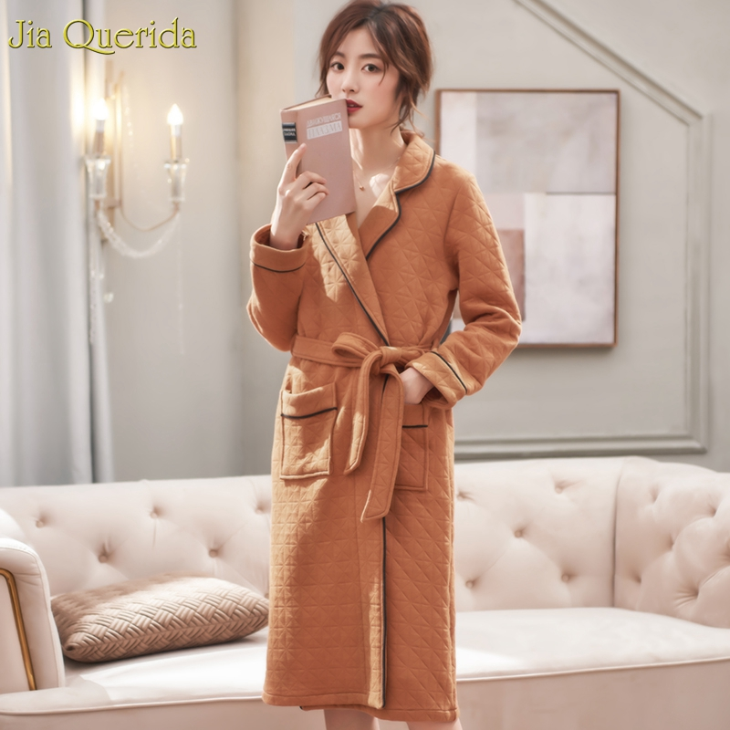 Kimono Robe Women's Winter Sleeping Dressing Gowns Plus Size Cotton Padded Warm Homewear Khaki Cotton Robe Housecoat Belted Robe
