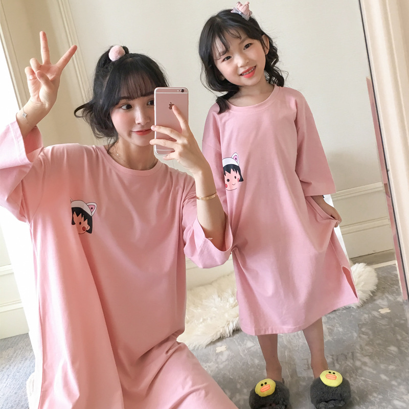 Nightgown Women's Spring And Autumn Long Sleeve Pure Cotton Mother & Daughter Small Balls Pajamas Parent And Child Kids Children