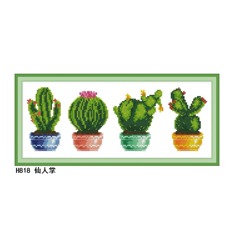 Joy Sunday Flowers Cactus CROSS-STITCH Set Hand made DIY Embroidery Kits for Home Decor and Surprise Gift Easy to Finish image