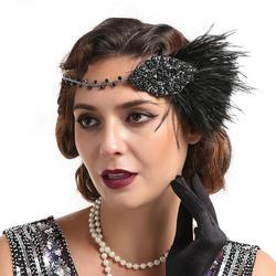 Couvre-chef gatsby Patry pour fille | Couvre-chef de mariée en plumes, bandeau de cheveux en ar, mode 1920s