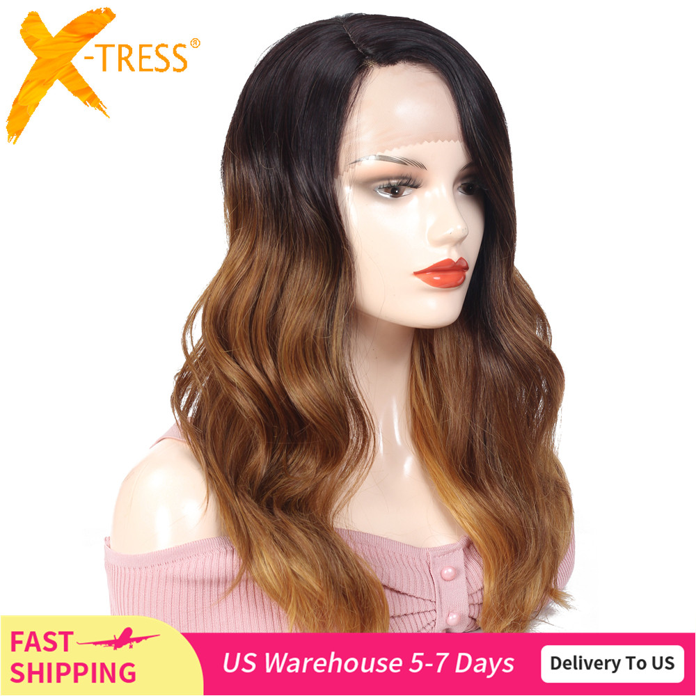 Ombre Brown Blonde Pink Synthetic Lace Front Wigs Long Body Wave Side Part Blue Grey Cosplay Hair Wig X-TRESS African Hairpiece
