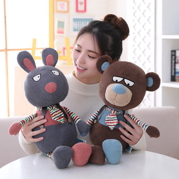 New 40cm Cute Soft Cartoon Elephant Rabbit Mouse Bear Plush Toy Doll Stuffed Animal Baby Accompany Doll Gift 40cm cute otter plush toys artificial river otter doll baby stuffed plush doll animals doll wholesale drop shipping new style