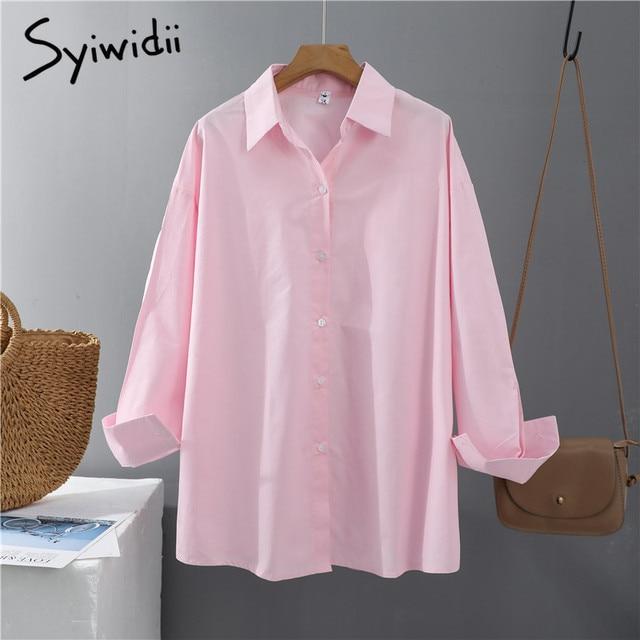 Syiwidii Women Blouses Office Lady Cotton Oversize Plus Size Tops Pink White Blue Long Sleeve 2021 Spring Korean Fashion Shirts 5