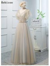купить Elegant Evening Dresses 2019 New Haute Couture Party Dress V-Neck Beaded A-Line Banquet long Dress Female vestido de festa по цене 2193.78 рублей