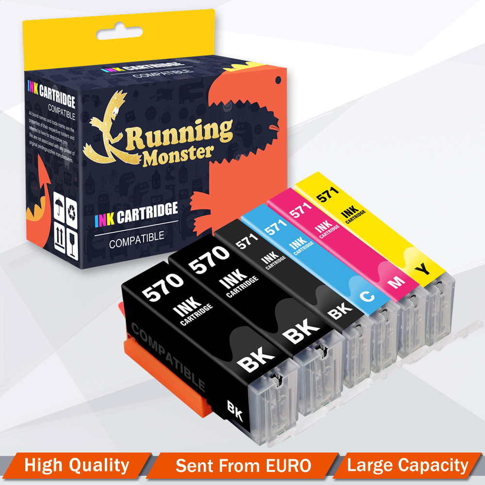 6pcs PGI570 CLI571 Compatible Ink Cartridge For Canon PIXMA <font><b>TS5050</b></font> TS5051 TS5053 TS5055 TS6050 TS6051 TS6052 TS8050 printer image