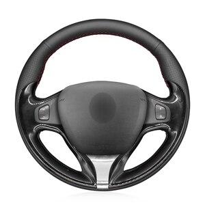 Image 1 - יד תפור שחור PU דמוי עור רכב הגה כיסוי עבור רנו קליאו 4 2012 2016 Captur רנו סמסונג QM3 2013