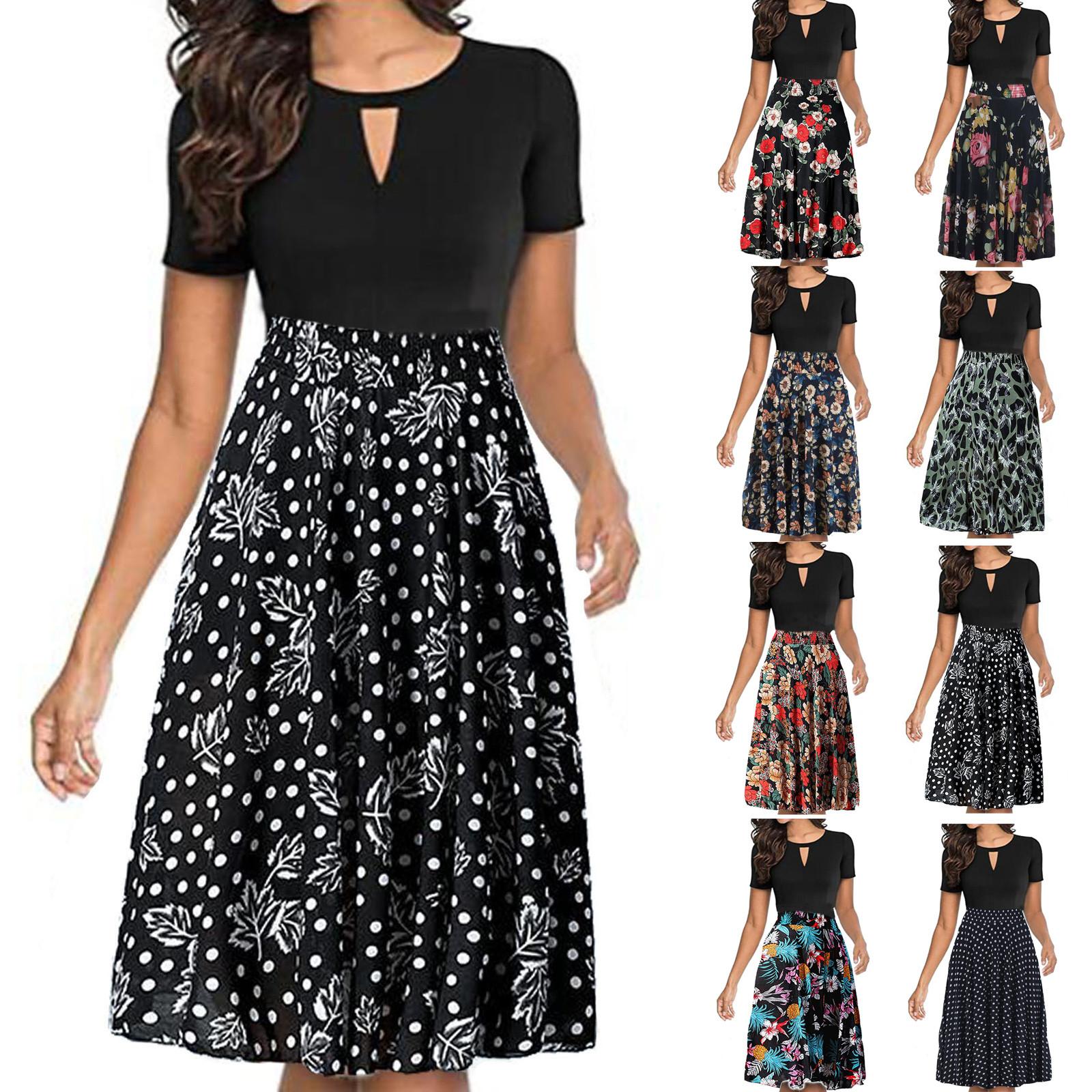 Plus Size Vintage Dress Women's Floral Printed High Waist Pleated A line Swing Dress Bohe Patchwork Dot Floral Dresses Платье