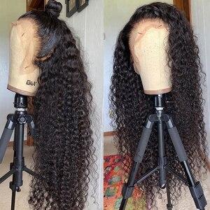 Image 4 - Perruque de fermeture de cheveux humains bouclés 4x4 13x4 dentelle avant perruques de cheveux humains pré plumés malaisiens bouclés dentelle avant perruque 8 26 pouce 150% Remy