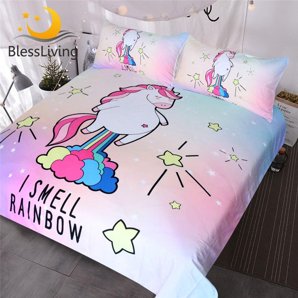 benediction living parure de lit motif licorne pour enfants avec housse de couette arc en ciel violet jaune rose bleu style dessin anime pour