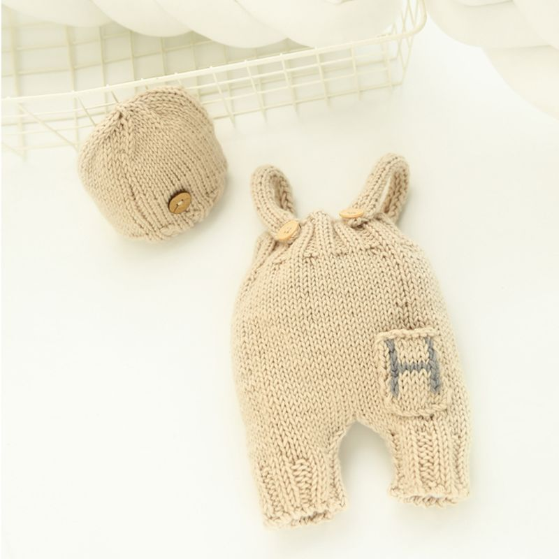 2pcs/Set Newborn Photography Props Handmade Infant Outfits Baby Crochet Knit Hat Clothes