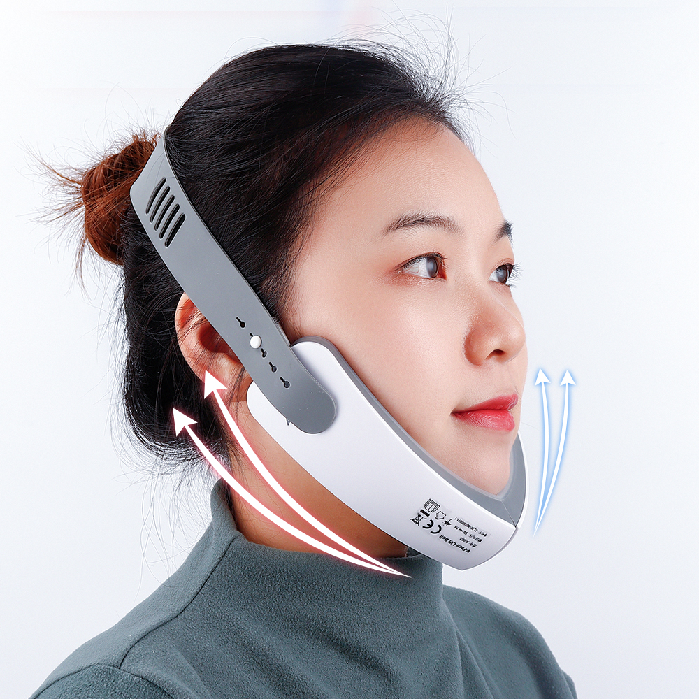 Chin V-Line Up Lift Belt Machine Red Blue LED Photon Therapy Facial Lifting Device Face Slimming Vibration Massager V-Face Care