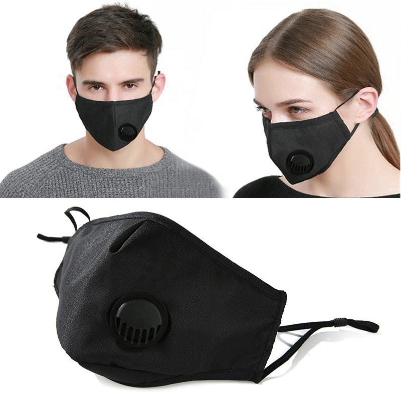 Pollution PM2.5 Mouth Mask Unisex Anti Dust Face Mask Washable Reusable Cotton Black Masks For Allergy/Asthma/Travel