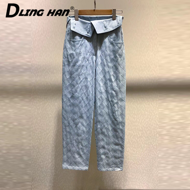 LINGHAN Fashion Plaid Cowboy Long Pants All-match Light Blue High Waist Pencil Pants Designer Spring Summer New
