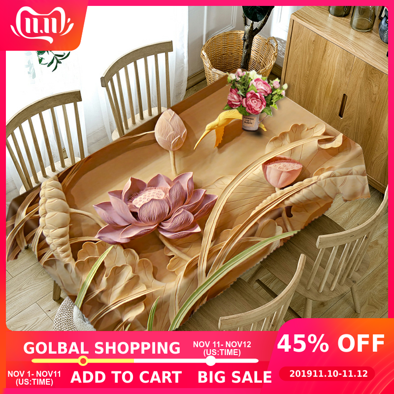 Senisaihon Europe  3D Tablecloth Emboss Flowers Pattern Polyester Dustproof Dinner Table cloth Wedding Decoration Cover
