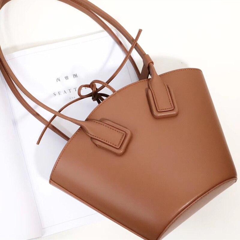 Маленькая женская сумка из коровьей кожи, Ретро стиль, длинные ремешки, женская сумка мешок, 2019, известный дизайнер, сумка через плечо, модны... - 4