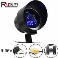 Car LCD Digital Voltmeter 12v Water Temp Gauge volt meter 24V with temperature Sensor instrument panel motorcycle for auto truck