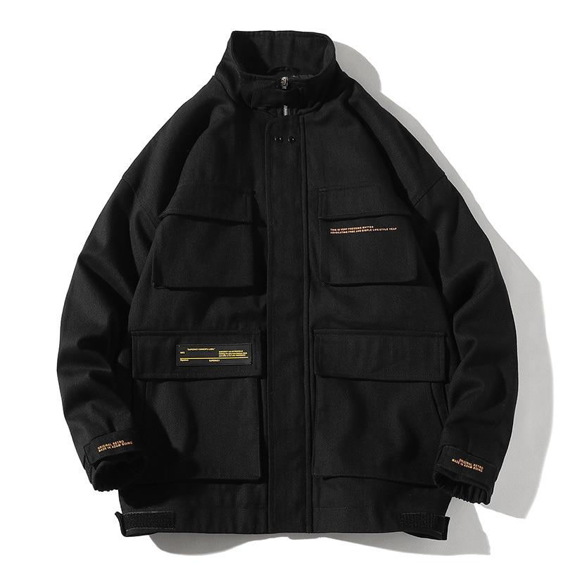 2020 Autumn Cargo Jackets Men Streetwear Solid Color Jacket Hip Hop Long Sleeve Coat Pocket Windbreaker Male Bomber Jackets Men