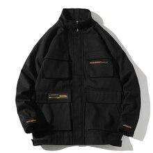 2020 Autumn Cargo Jackets Men Streetwear Solid Color Jacket