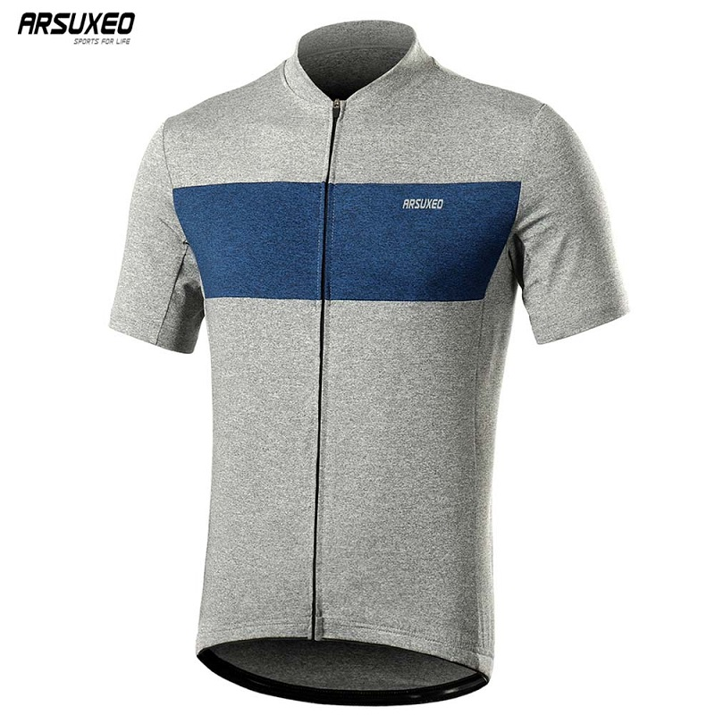 ARSUXEO Men's Short Sleeve Cycling Jersey Pro Quick Dry MTB Bicycle Shirt Mountain Bike Downhill Clothing With Pocket 639