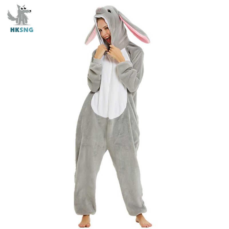 HKSNG Adulto Lunghe Orecchie di Coniglio Tute Monopezzo di Alta Qualità Flanella Costume Pigiama Animale Del Partito di Halloween Tute E Tute Da Palestra Vestito Pigiami Pigiami Kigurumi