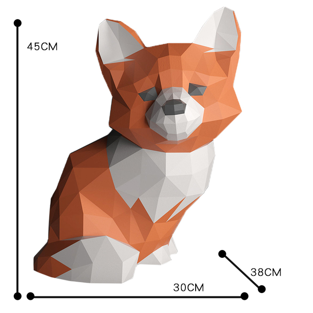 Sad Fox Animal Decor Home Decoration Paper Model Ornaments,Low Poly 3D Papercraft,Handmade DIY Origami Adult Craft Toy RTY210 6