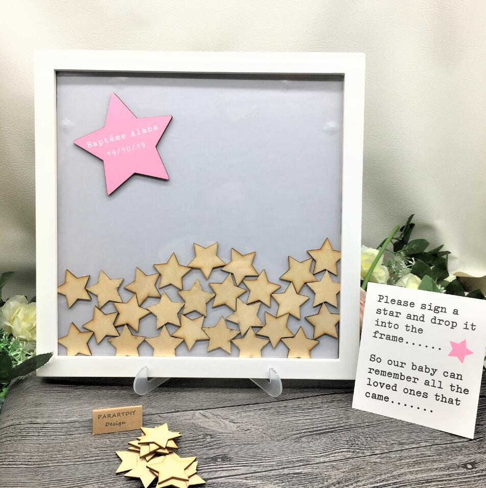 Customize Baby Shower Guest Book Drop Box With Wooden Stars, Personalise Christening Baptism Little Star Guestbook Wish Box