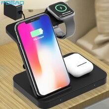 Carregador sem fio 5 em 1 suporte para apple iwatch aripods pro/2 galaxy assista engrenagem qi 15 w carregamento rápido para iphone 11 xs samsung s10