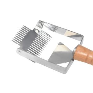 Image 3 - Многофункциональные инструменты для пчеловодства с двойной иглой из нержавеющей стали и дерева 304, подходят для расчесывания меда, вилки для снятия колпачков